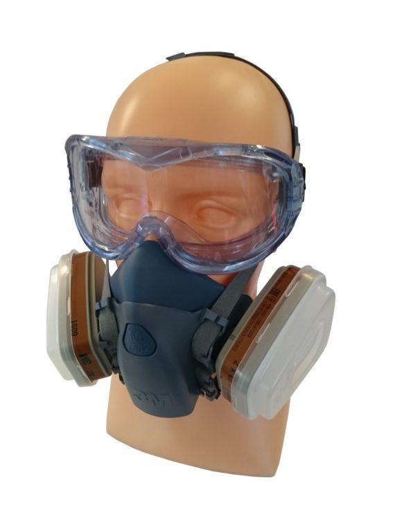 Półmaska, Maska Lakiernicza 3M +filtry+gogle